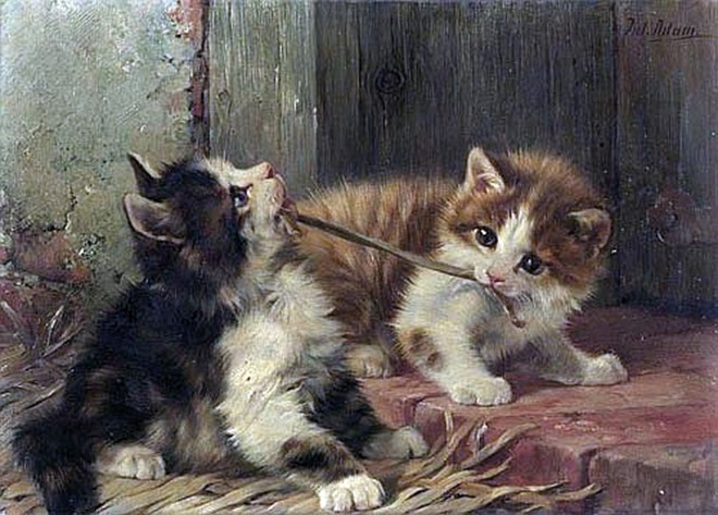 ADAM-JULIUS-1852-Munich-1913-Two-cats-playing.-Oil-on-panel.-Signed-upper-right-Jul.-Adam.-15-x-20-cm-private-collection660