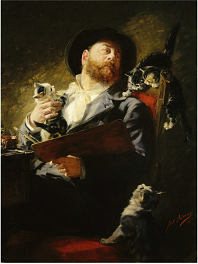 julius-adam-entre-nous-self-portrait-with-cats-1911660